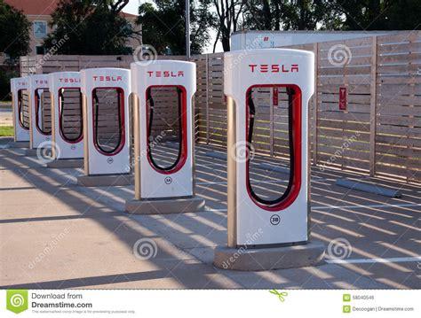 Tesla Electric Stations Tesla Electric Car Charging Station Editorial Photo