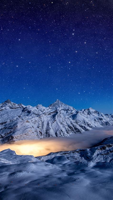 wallpaper night mountains sky stars  nature
