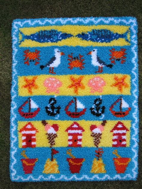 hooked rugs kits beside the seaside latch hook rug kit