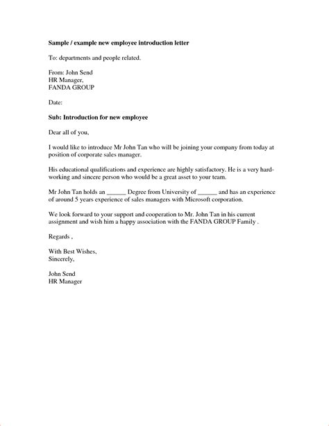 Introduction Letter By New Employee 4 Introduction Letter Memo Formats
