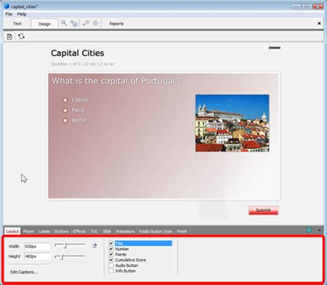 layout features quiz quiz builder create highly customized flash based