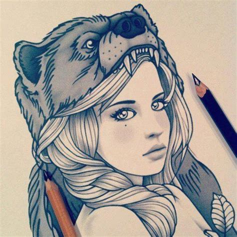 tattoo girl animal head wolf girl drawing art drawing diy pinterest