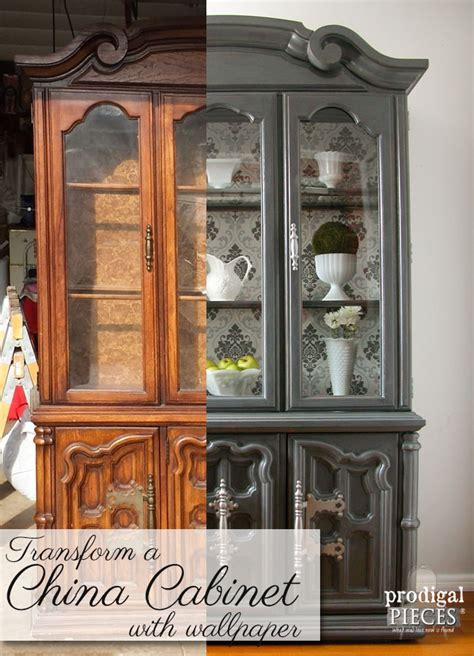 china cabinet makeover ideas china cabinet makeover with wallpaper prodigal pieces