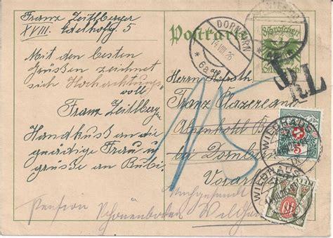Porto Brief Schweiz Nach Sterreich bedarfspost ganzsachen 214 sterreich 1925 1938