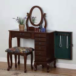 Jewelry Armoire Vanity Set Heirloom Cherry Finish Vanity Table Set Jewelry Armoire