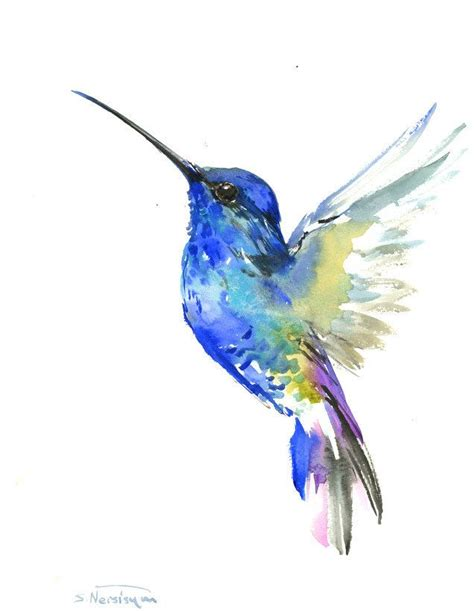 style hummingbird l blue hummingbird painting bright color flowers
