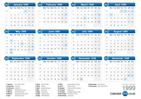 August 1996 Calendar Calendar 1999