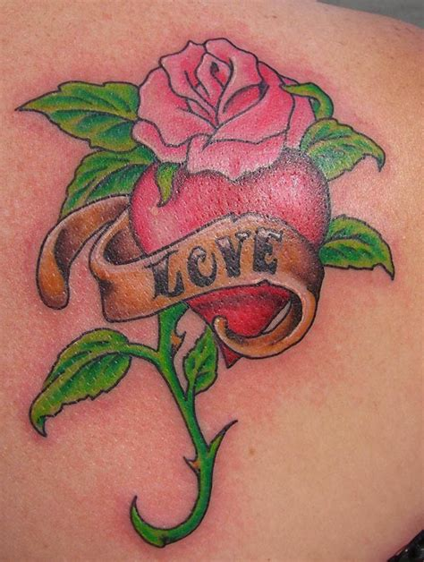 rose and heart tattoo tattoos for designs