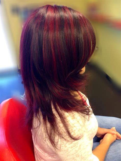 mahogany red hair with high lights full red violet highlights from the b red series with a
