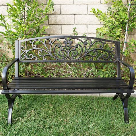 outdoor metal bench new 50 quot inch outdoor bench patio metal garden furniture