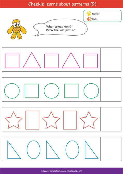 pattern exercises kindergarten shapes and patterns worksheets memes