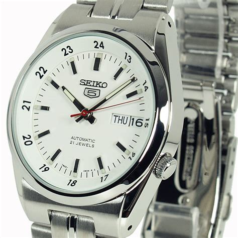 Seiko 5 Automatic White Second by Seiko 5 Mens Auto White Snk559k1