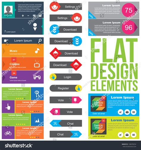 shutterstock design elements and layout flat web design elements templates website stock vector