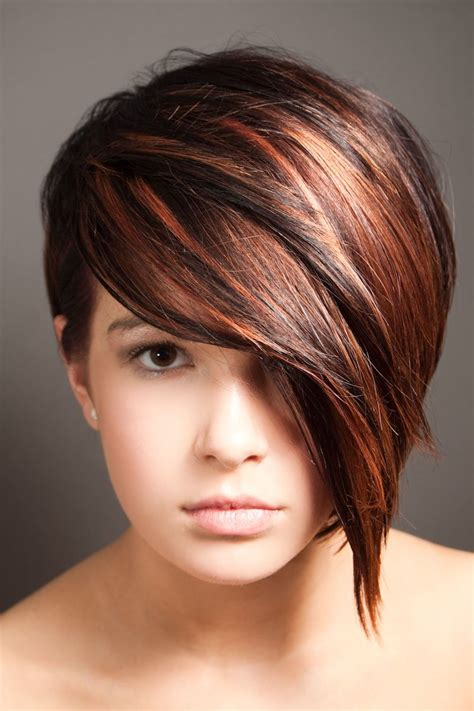 short hair cuts with dark brown color with carmel highlights dark auburn hair color short hair google search
