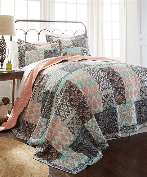 colonial home textiles coral turquoise three