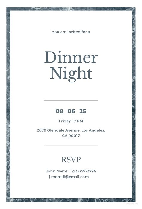 Dinner Card Template by Free Sle Dinner Invitation Template In Adobe