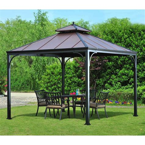 backyard gazebos home depot hton bay harper 10 ft x 10 ft steel hardtop gazebo l