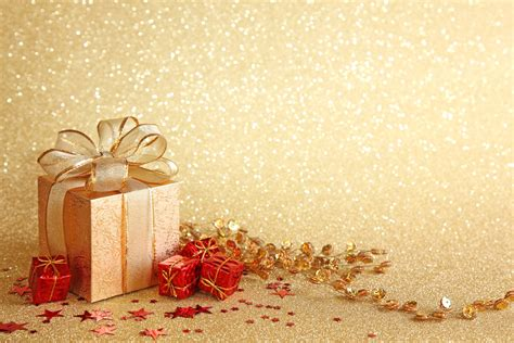 christmas gift boxes golden background