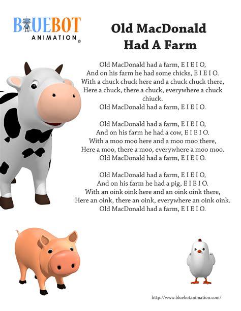 help testo macdonald had a farm nursery rhyme lyrics free