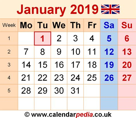 Calendar 2019 January Calendar January 2019 Uk Bank Holidays Excel Pdf Word