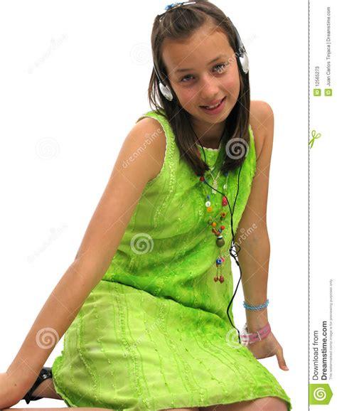 cool ls for tweens cute teen wearing headphones stock image image of