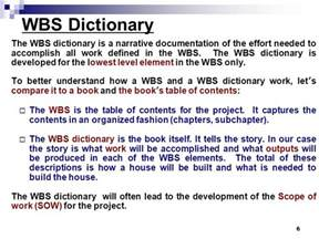 Wbs Dictionary Template by Wbs Construction Of House Exle Wbs Dictionary Ppt