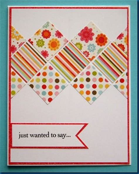 Handmade Paper Cards Ideas - handmade card bright pattern of inchies on end