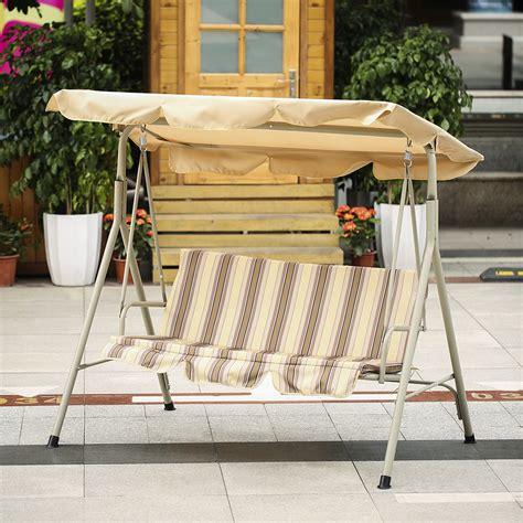 Ikayaa 3 Seater Patio Canopy Swing Glider Hammock Outdoor Outdoor Furniture Swings