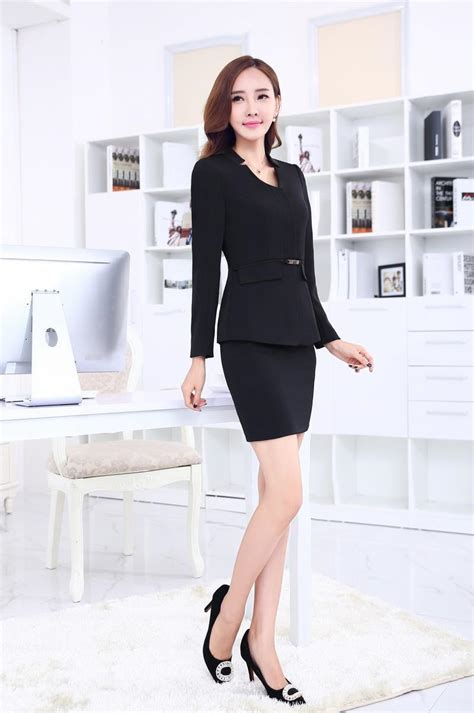 Set Blazer Dress Skirt formal black blazer business suits with skirt and