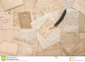 letters vintage postcards and antique feather pen