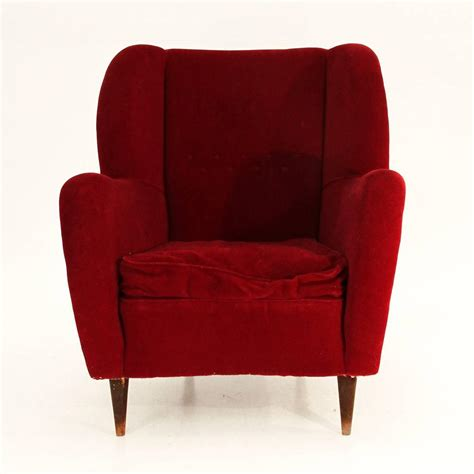 1950s armchairs italian red velvet armchair 1950s at 1stdibs
