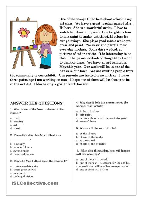 printable reading comprehension test english reading and comprehension worksheets поиск в