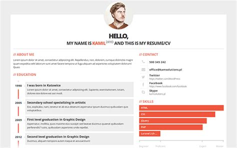 Cv In Personal Skills Best 15 Bootstrap 3 Resumes And Cv Templates My Webtricks