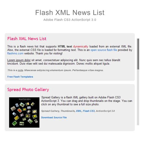flash template 186 news list