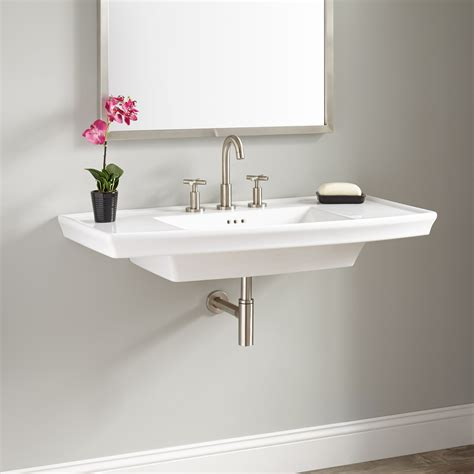 Nice Bathroom Square Footage #1: 469484-olney-porcelain-wall-mount-sink-white.jpg