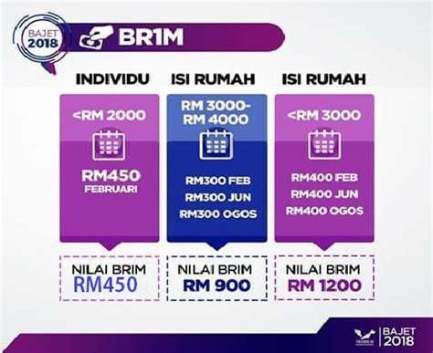 bayaran br1m 2016 bila tarikh masuk akaun brim 2016 jumlah bantuan br1m 2018 semua kategori permohonan my