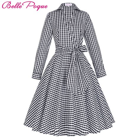 grid pattern dress autumn winter women dress 2017 vintage long sleeve turn