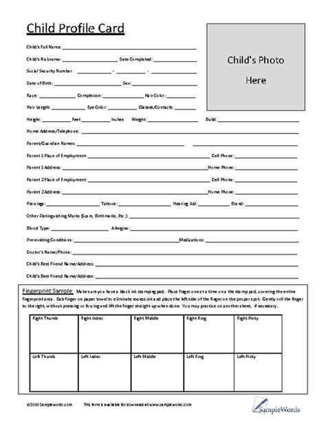 profile card template child profile card