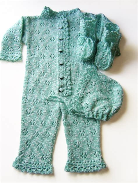 knitted romper suit knitted baby romper suit with booties and bonnet