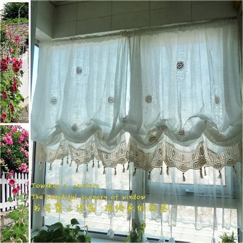 Balloon Curtains For Living Room Pastoral Style Adjustable Balloon Curtain Living Room Shade White Window Treatment Curtains