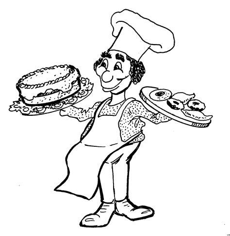 malvorlagen kuchen koch mit kuchen ausmalbild malvorlage essen und trinken