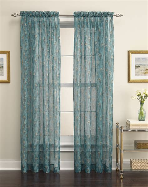 peacock blue sheer curtains king peacock sheer curtain panel curtainworks com