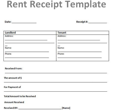 rent invoice receipt template free rent receipt template for excel or ms word document