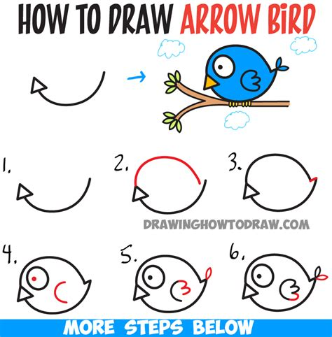 drawing birds learn to how to draw cute cartoon bird illustration from arrow shape easy tutorial for kids how to