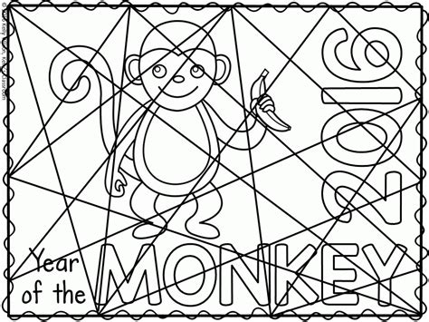 chinese new year coloring page monkey year of the monkey coloring page coloring home