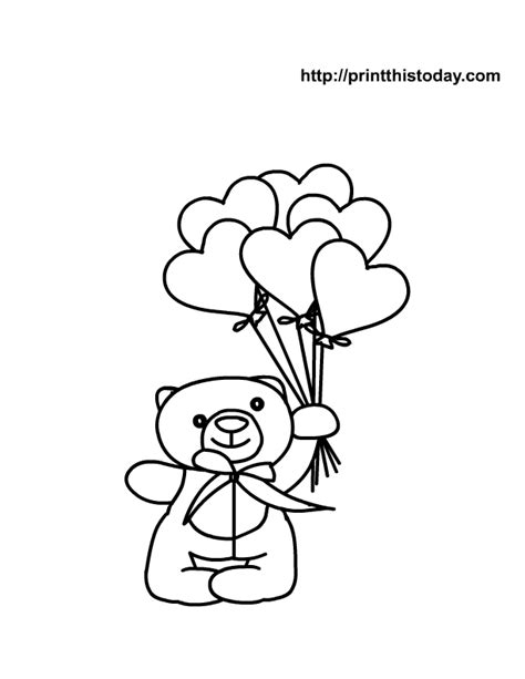 teddy bear holding a heart coloring page heart coloring pages