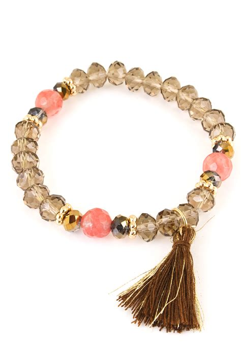 bead and stretch glass bead tassel stretch bracelet bracelets