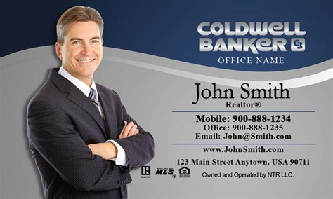 banker profession coldwell banker business card professional blue with