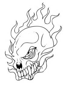 skull color free skull in flames coloring pages
