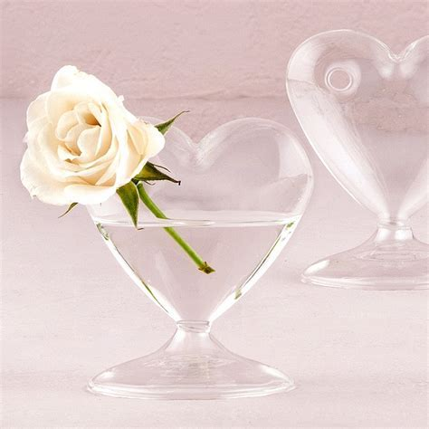 4 Pc. Miniature Clear Blown Glass Heart Table Vase Set
